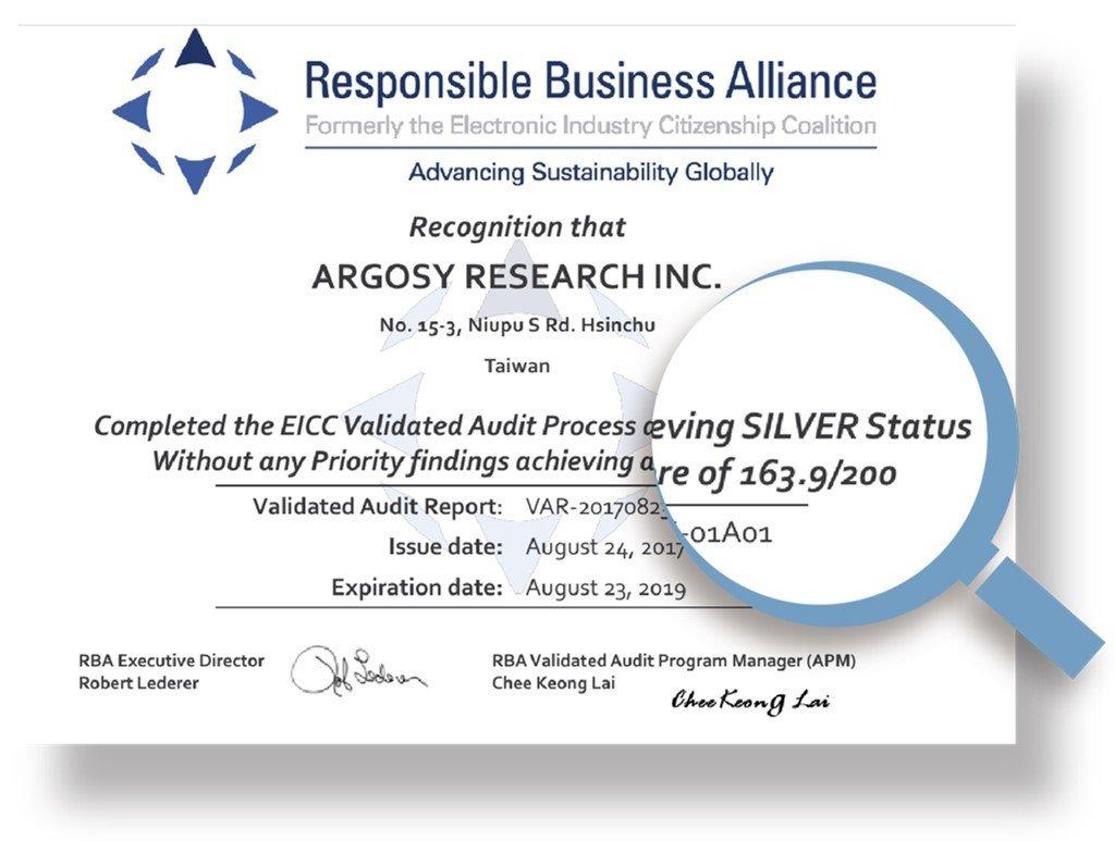 Argosy_RBA 6.0 Silver Status certificate